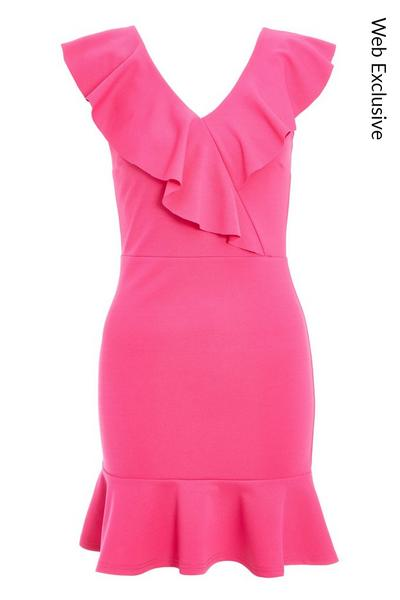 Hot Pink Frill Bodycon Dress